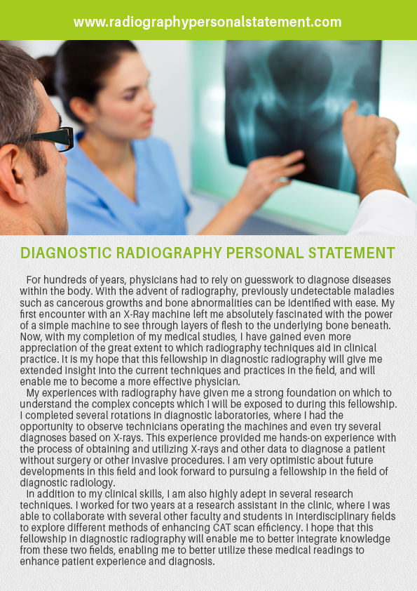 professional diagnostic radiography personal statement