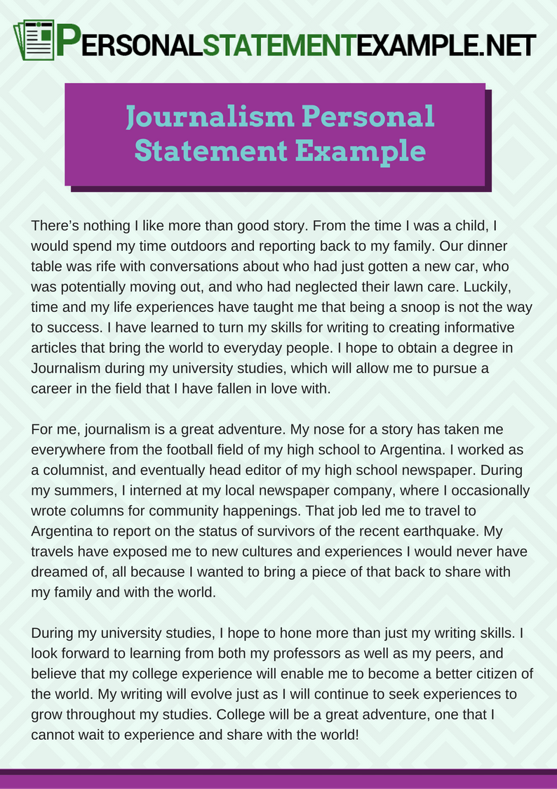 Pay to do journalism personal statement write a note on economies of scale